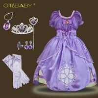 Summer Kids Dresses Baby Girls Sofia Princess Cosplay Costume For Carnival Holiday Children Clothing Teenage Tutu