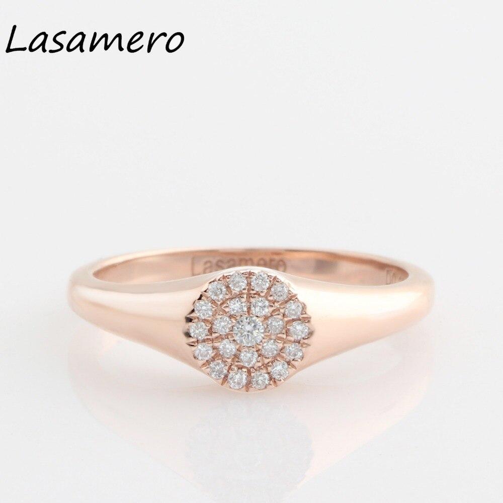 LASAMERO Round Cut 0.11CTW Forme Ronde Naturel Diamant 14 k Or Double Halo Rock Punk Vintage Ethnique Chevalière Pile anneau