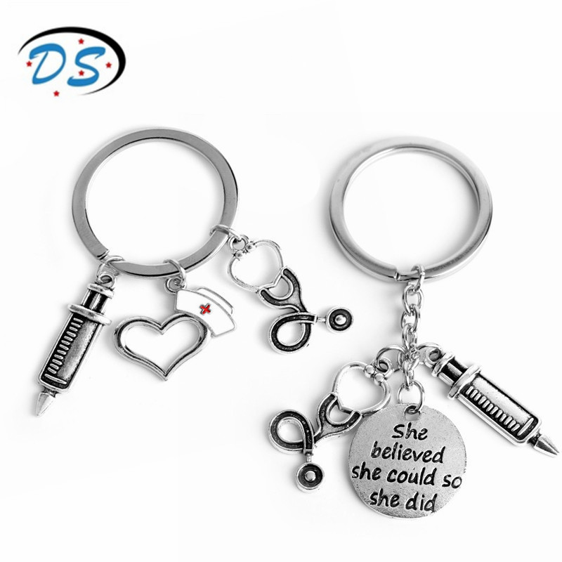 Dongsheng Jewelry Doctor Medical Tools Stethoscope Syringe Pendants Key Chains Nurse Medical Students Gifts Keychain Llaveros