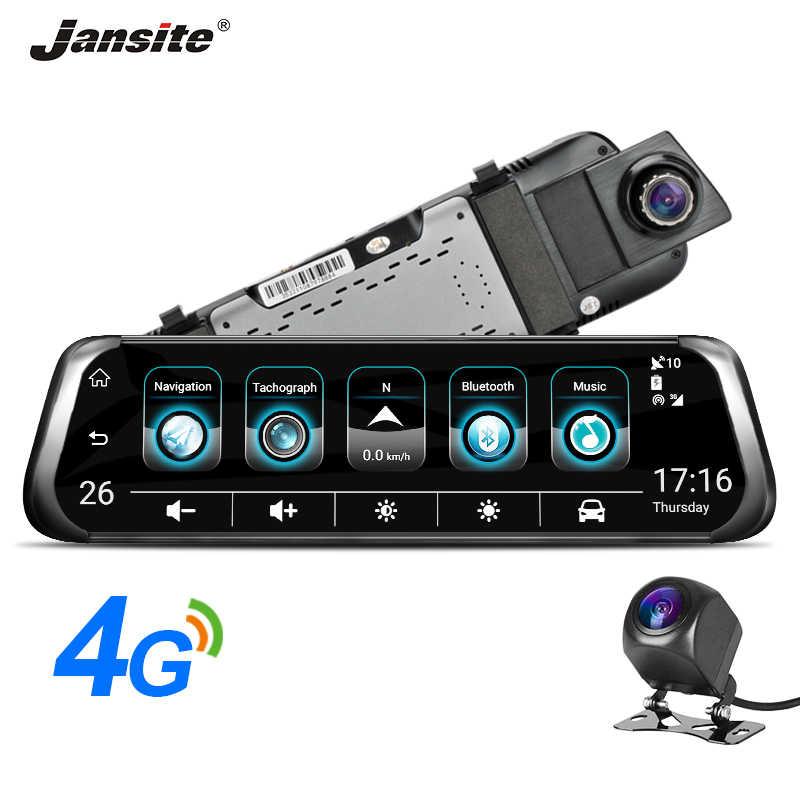 """جانسايت 4G جهاز تسجيل فيديو رقمي للسيارات 10 """"شاشة تعمل باللمس Android5.1 سيارة كاميرا نظام تحديد المواقع سيارة مسجل فيديو بلوتوث 3G واي فاي داش كام المزدوج مرآة الرؤية الخلفية"""
