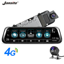 "Jansite 4G Mobil DVR 10 ""Layar Sentuh Android5.1 Mobil Kamera GPS Mobil Perekam Video Bluetooth 3G Wifi dash Cam Ganda Kaca Spion(China)"
