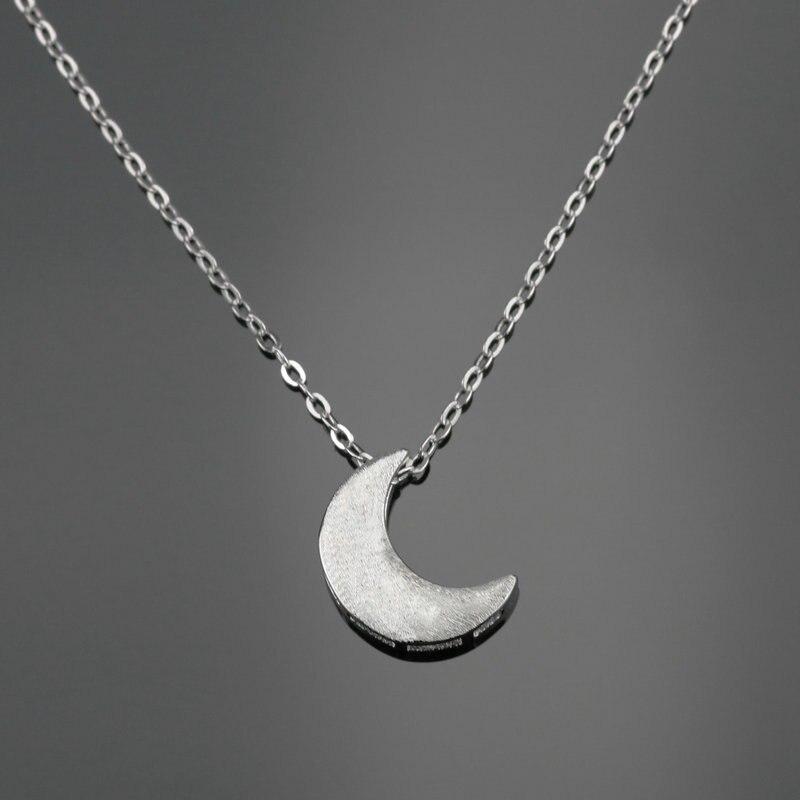 Mode Femme Argent Sterling 925 Zircon Crescent Moon Collier Pendentif Cadeau