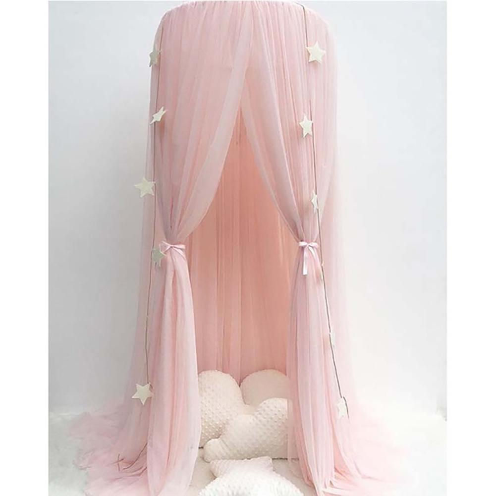 Baby Lace Crib Tent Round Dome Hanging Curtain Mosquito Net Kids Room Decor