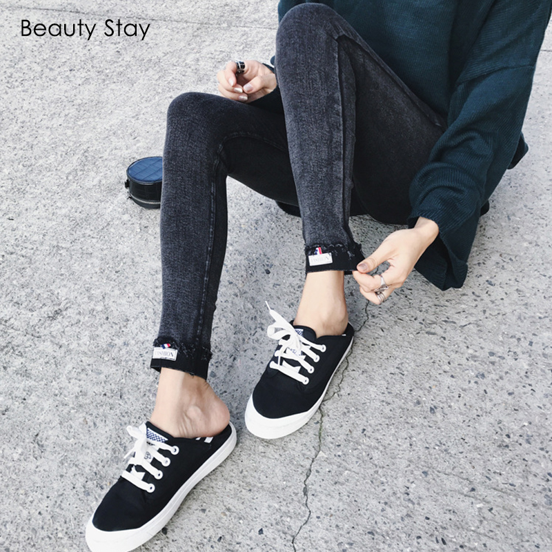 BeautyStay Casual High Waist Women   Pants     Capris   Autumn Winter Girls Trousers Cuffs Sexy Push Up Slim Skinny Black Pencil   Pants