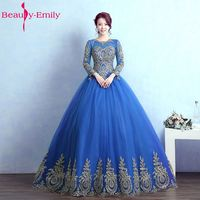 Beauty Emily Long Ball Gown Quinceanera Dresses 2018 Princess Girl Dresses Full Sleeve Lace Up Formal Party Gowns Prom Dresses