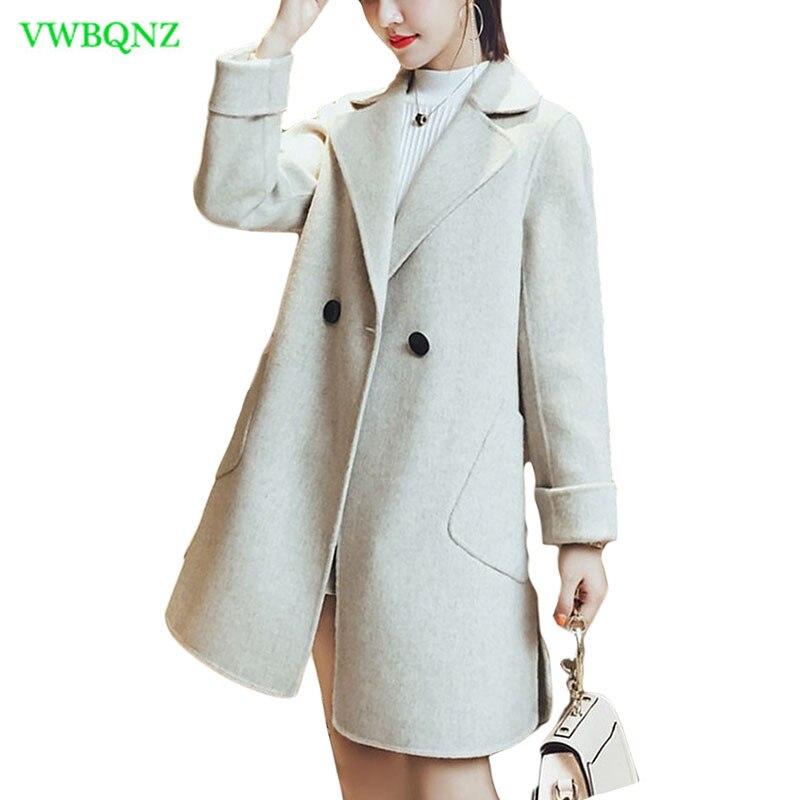 Nouvelle-Coréen Femmes De Laine Veste Printemps Automne Mince Mince Longue Laine manteaux Femmes de Haute qualité Bleu À Double Boutonnage Pardessus XS 181