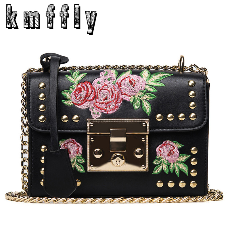 KMFFLY Embroidery Floral Luxury Handbags Women Bags Designer Brand Famous Shoulder Bags Female Leather Marque De