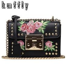 KMFFLY Stickerei Blumen Luxus Handtaschen Frauen Taschen Designer Marke Berühmte Umhängetaschen Weiblichen Leder Marque De Vintage-tasche