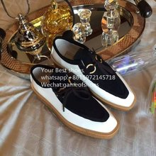 2016 fall platform sole mixed color Loafers distinctive squared-off toe Brody squared toe shoes genuine leather platform shoes