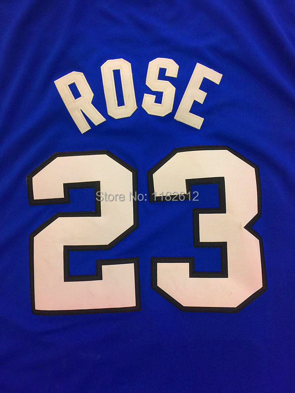 27e31e0e ... Throwback Basketball Derrick Rose Jersey Cheap NCAA Memphis Tigers 23  Derrick Rose White Blue College Basketball Jerseys Derrick ...