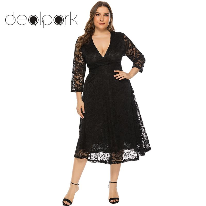 US $21.15 40% OFF|Women Plus Size Dress Lace Crossover Deep V Neck 3/4  Sleeve High Waist Slim Elegant Ladies Party Dresses Large Size 3XL 4XL  5XL-in ...