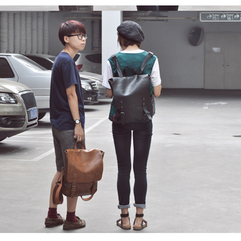2019 New Fashion Man Retro Casual PU Leather Backpack Large Capacity Waterproof Student Schoolbag WML99