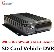 3G ,WiFi Mobile DVR H.264 4CH+Real time+GPS Track +I/O+G-sensor Vehicle DVR,support iPhone ,Android Phone Free shippingGS-8303GW