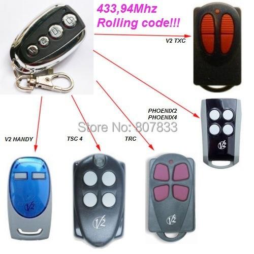 V2 garage door remote ,model V2 TXC ,phoenix2,phoenix4,TSC4,TRC,V2 handy remote compatible v2