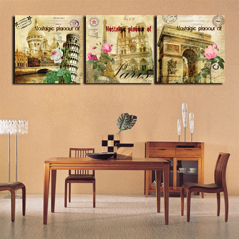 3 Panel Wall Art Hanging Retro Pictures Europe Paris Building Oil ...