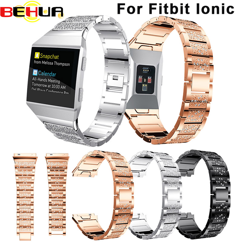 BEHUA Watchband 2017 Luxury Stainless Steel Rhinestone Bracelet Crystal Watch Band Wrist strap For Fitbit Ionic High Quality