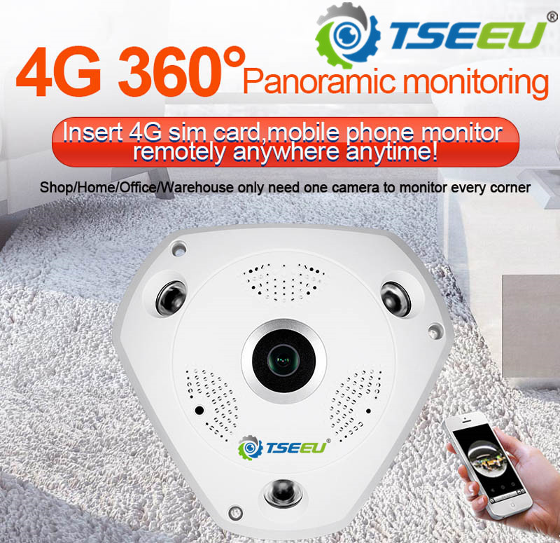 3 Megapixel <font><b>4G</b></font> <font><b>3G</b></font> <font><b>sim</b></font> <font><b>card</b></font> indoor panoramic fisheye 360 degree IP <font><b>Camera</b></font> camhi pro app view remotely image