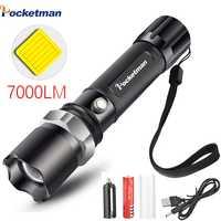 Lampe de poche Portable LED ultra lumineuse réglable 5 Modes torche étanche extérieure alimenté lampe de poche tactique pour la randonnée en Camping