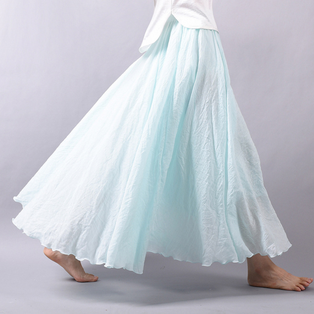 Cotton Linen Maxi Skirt Women Spring Summer Elastic Waist Vintage Solid Pleated Long Skirts Mori Girl Boho Beach Skirt Faldas