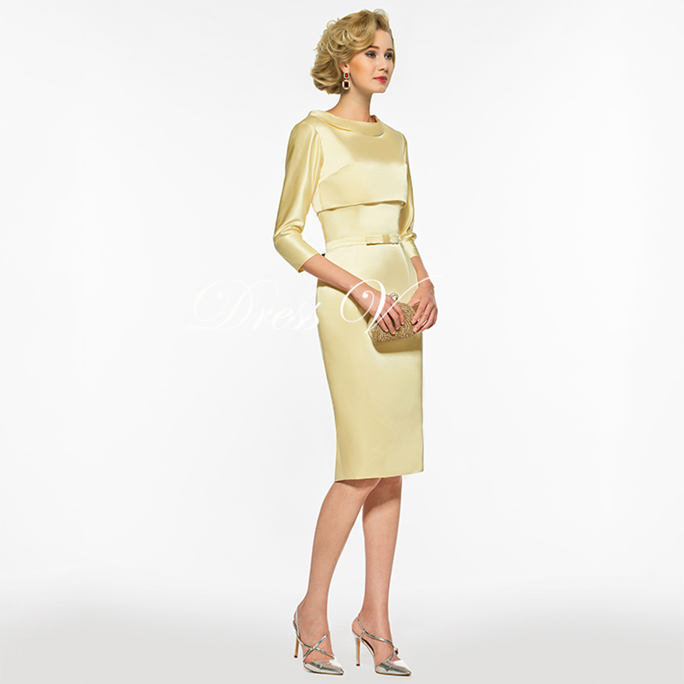 d5f0a649d8 ... Scoop Neck 3 4 Sleeves Sheath Bow Tea Length Wedding Party Mother Of  The Bride Dress 4 3 ...