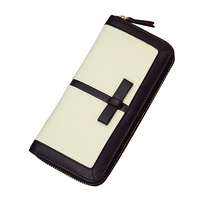 High Quality Women Patchwork Long Wallet Black And White Clutch Card Holder With Phone Pocket PU