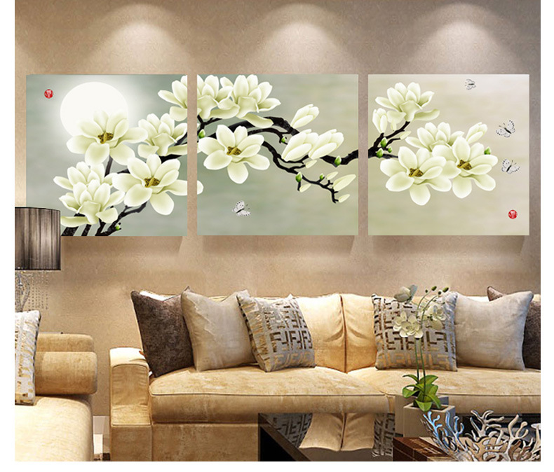 flower decorations for living room 3 panel modern abstract flower painting on canvas wall 21074