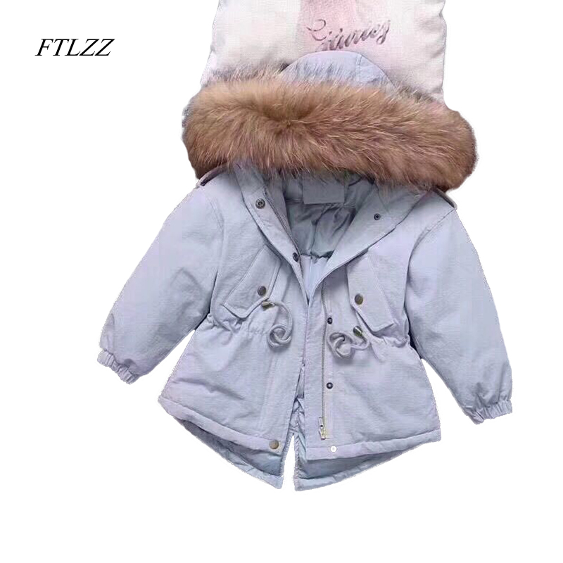 Girls Down Jacket Coat Winter Fashion Large Raccoon Fur Hooded Collar Long Sleeve Children Outerwear Parkas Coats Snow Jackets shein faux fur trim hood embroidery applique coat casual women winter coats navy long sleeve zipper hooded coat