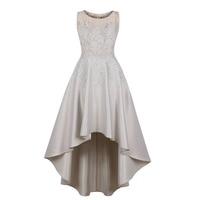 Women Elegant Dress Floral Applique Party Dress High Low Satin Like Lace Top Formal Dresses