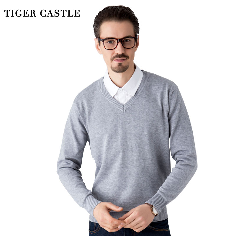 TIGER CASTLE Men Quality Knitwear High Stretch Solid Sweater for Men Brand Soft V-Neck Pullovers Comfort Sweater Hombre