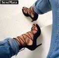Sexemara grife gladiador das sandálias das mulheres sapatas das mulheres do dedo do pé aberto rendas até sapatos de salto alto sexy mulher bombas sandalias mujer