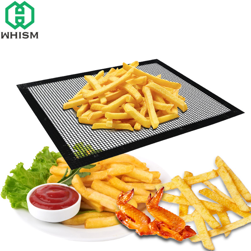 WHISM 40x33cm Heat Resistant BBQ Grill Mat Non-stick BBQ Grilling Mesh Pad Teflon Baking Mat Barbecue Grill Mats Cooking Sheet
