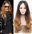 2016 Promotion womens synthetic lace front wig Heat resistant long ombre blonde dark roots wig for black women