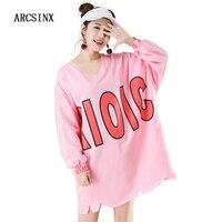 ARCSINX Pink T Shirt Women Big Size 8XL 7XL Oversize Women T Shirt Long Cotton Autumn Winter Oversize Long Sleeve Tshirt Women
