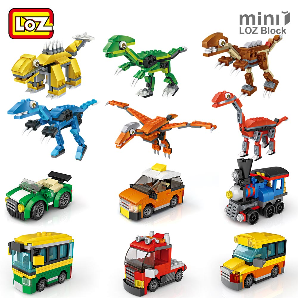LOZ Mini Blocks Dinosaur Eggs Cartoon Dog Toy Engineering Vehicle Car Toys for Children Building Blocks Figures Educational DIY 12pcs set children kids toys gift mini figures toys little pet animal cat dog lps action figures