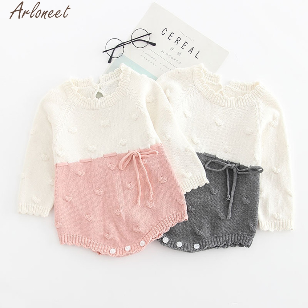 Arloneet Infant Newborn Boys Girls Outfits Patchwork Knit Baby Girl Clothes Newborn Baby Girl Clothes 0-3 Months Romper Crochet
