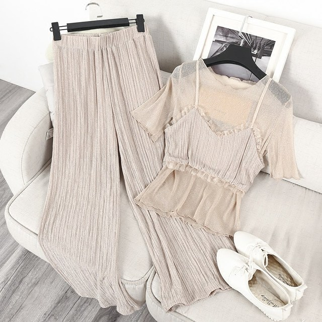 2017 New Sexy Women Mesh Shirts  Straps Tops Pants Sets Perspective Sheer Mesh Two Piece Summer Casual Wide Leg Pant Suits