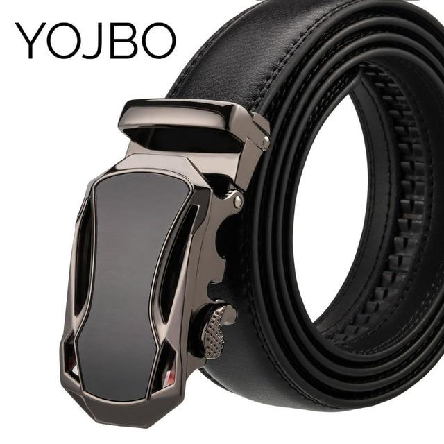 YOJBO Genuine Leather Belt Men 2019 Luxury Designer Brand Gold Automatic Buckled Alloy High Quality Wedding Belt Waist Straps