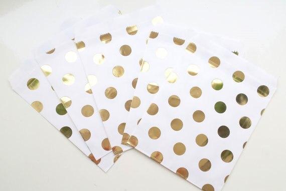 Chevron Gold Foil Favor Bags Polka Dotsgold Candy Bags