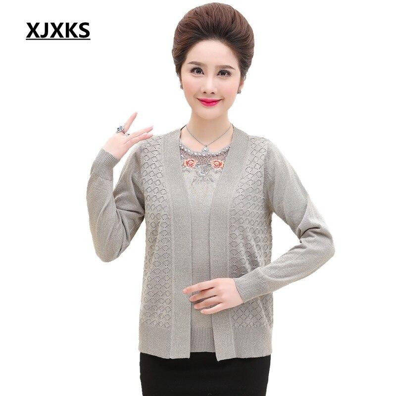 8b22bf047f5 XJXKS 2018 большой размер женский осенний теплый свитер пальто 2 шт.  комплект Emboridery длинный рукав