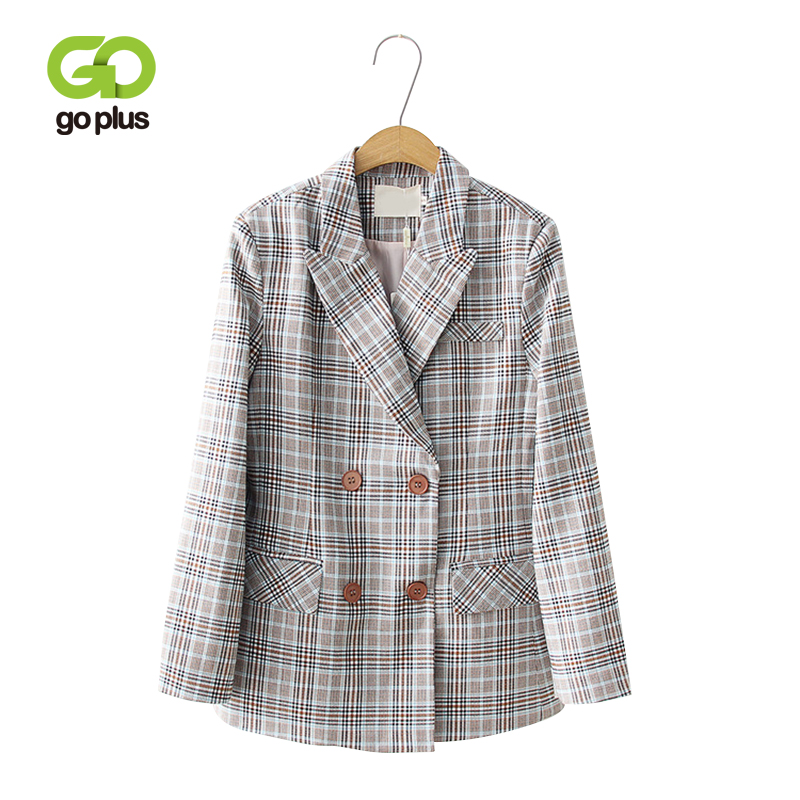 GOPLUS Vintage Notched Double Breasted Plaid Blazer 2019 Spring Pocket Jackets Female Retro Office Lady Coats Work Outwear C7561