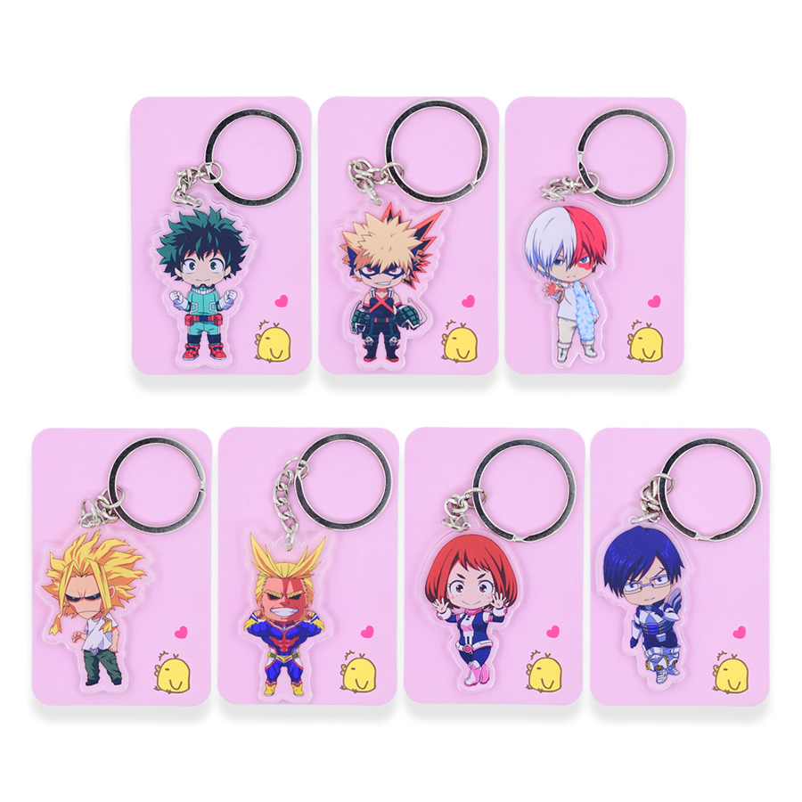 7 styles My Hero Academia Keychain Double Sided Chibi Cartoon Keyrings Cute Anime Acrylic Key Chians Accessories 2018 New