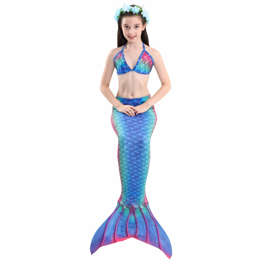 HTB1cZ9WdjbguuRkHFrdq6z.LFXay - 4PCS/Set HOT Kids Girls Mermaid Tails with Fin Swimsuit Bikini Bathing Suit Dress for Girls With Flipper Monofin For Swim