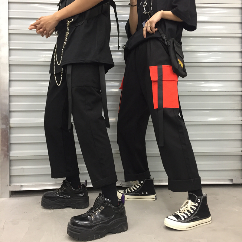 HOUZHOU Hip Hop Girl Harajuku Cargo Pants Women Pocket Loose Streetwear 2019 Spring Summer Pantalon Female Panelled Joggers