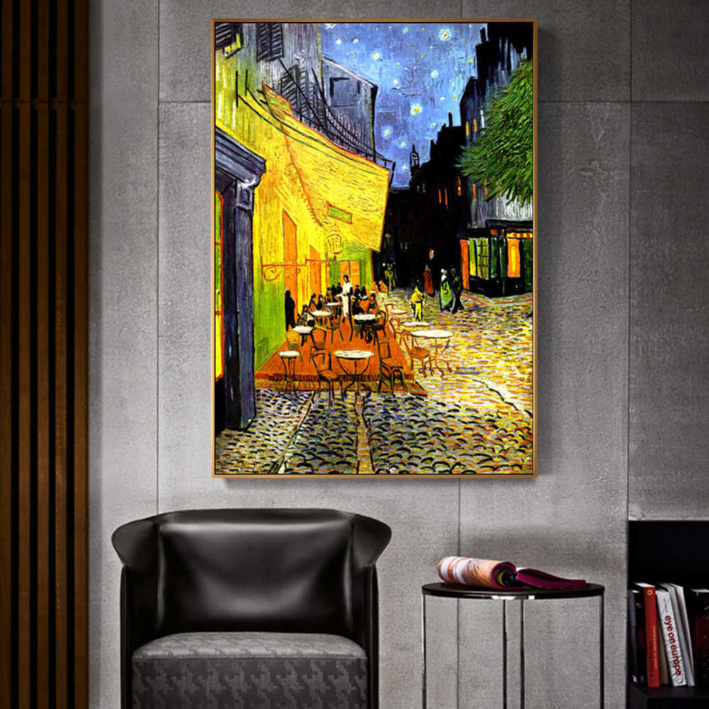 Van Gogh Cafe Terrace At Night Analysis Canvas Painting World Famous Oil Painting Reproduction Wall Posters And Print Home Decor