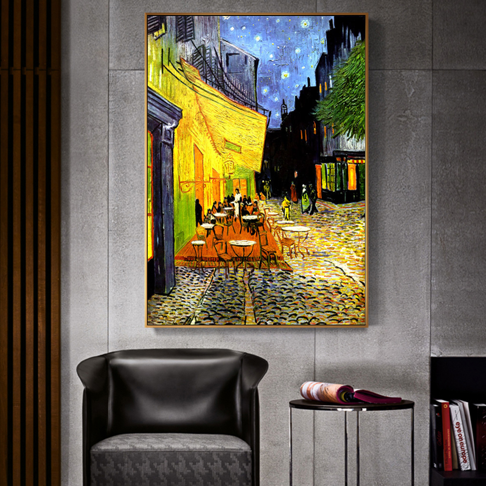 Van Gogh Cafe Terrace At Night Analysis Canvas Painting World Famous Oil Painting Reproduction Wall Posters And Print Home Decor(China)