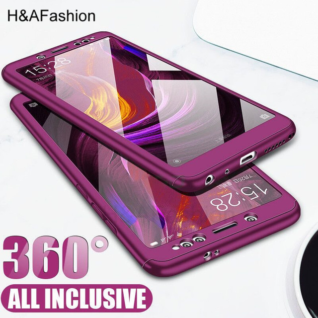 H&Afashion 360 Degree Full Cover Case For Xiaomi Redmi 4X 4A Redmi 5 Plus 5A Cases With Glass For Redmi Note 5 5A Phone Cas