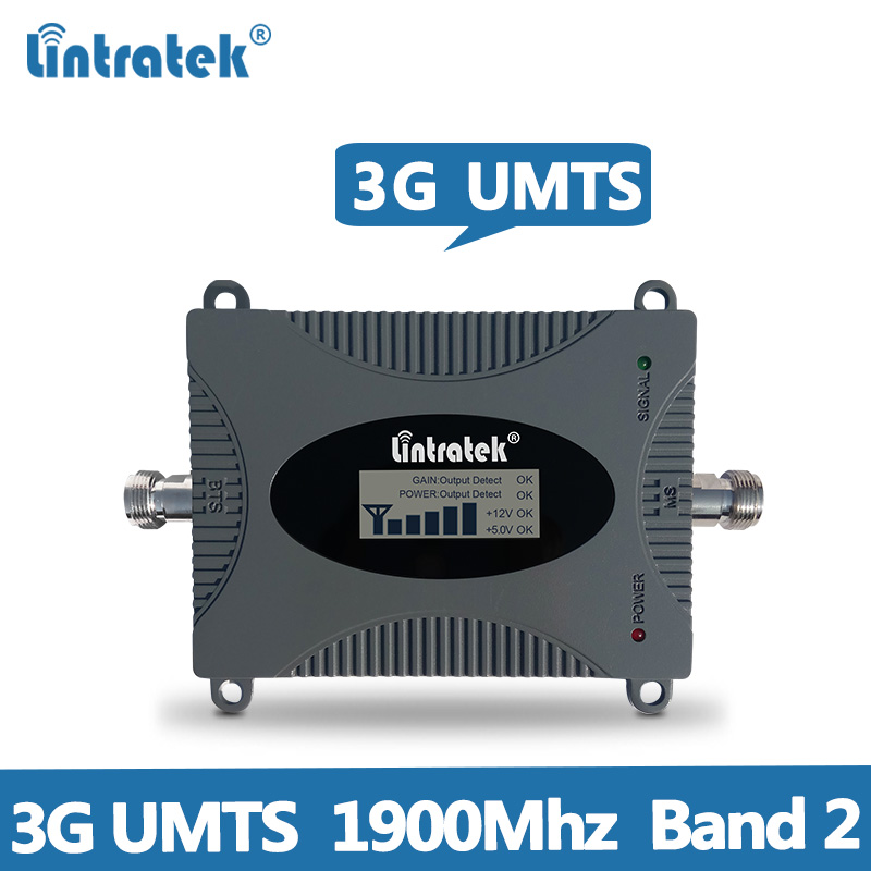 Lintratek Repeater 3G 1900Mhz Band 2 Signal Booster 3G PCS UMTS Mobile Phone Amplifier 1900Mhz Signal Repeater 65dB Repetidor @8