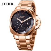 Jedir 2016 d'origine luxe pleine acier hommes d'affaires montres mode homme Quartz montre – bracelet étanche Reloj hommes montres en or