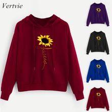 Vertvie Floral Embroidery Hooded Sweatshirt Fashion Women Spring Autumn Streetwear Long Sleeve Tops Casual Sportswear