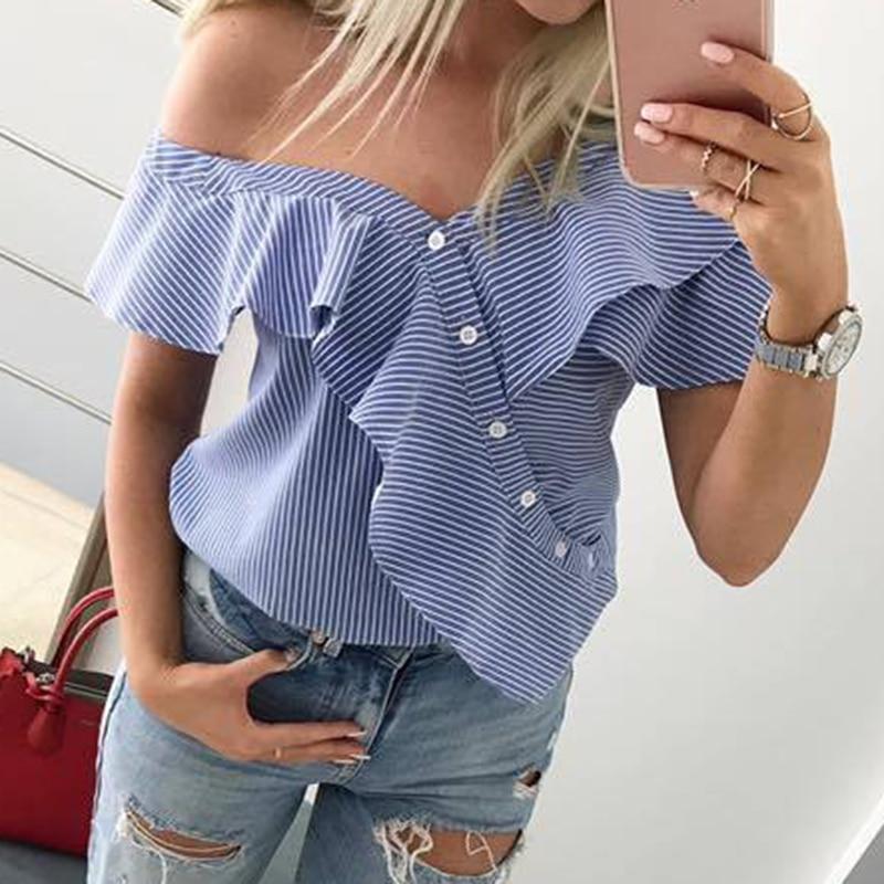 17bf35834d10 Женская блузка с открытыми плечами Chemises короткий рукав рюшами ...